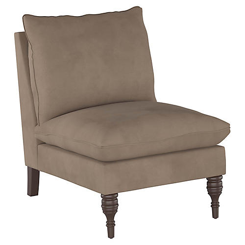 Daphne Slipper Chair, Smoke Velvet