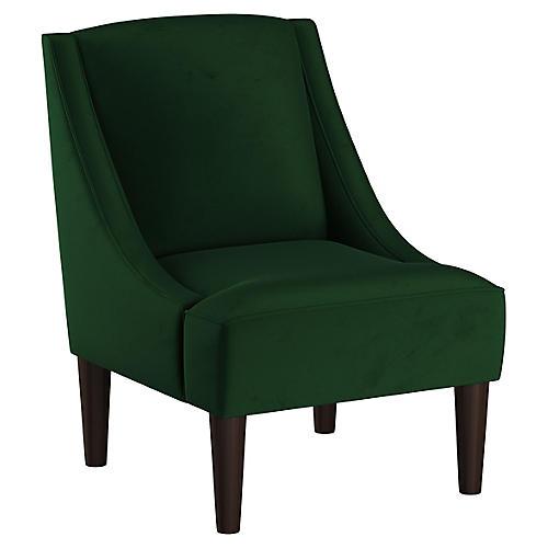 Quinn Swoop-Arm Chair, Emerald