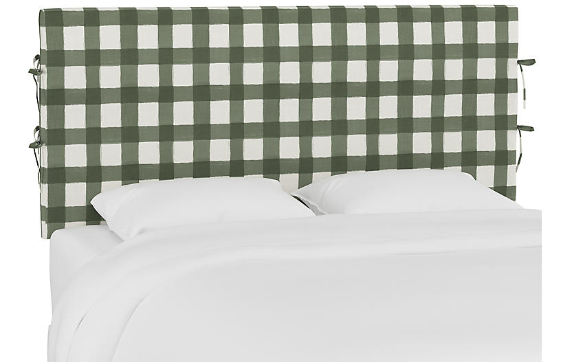 Elle Slipcover Headboard, Sage Buffalo Check
