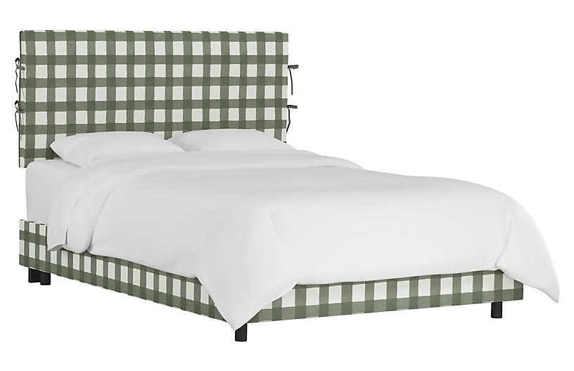Elle Slipcover Bed, Sage Buffalo Check