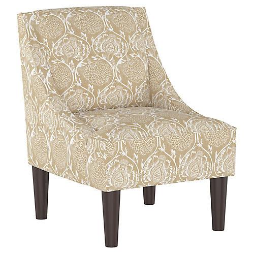Quinn Swoop-Arm Chair, Floral Flax