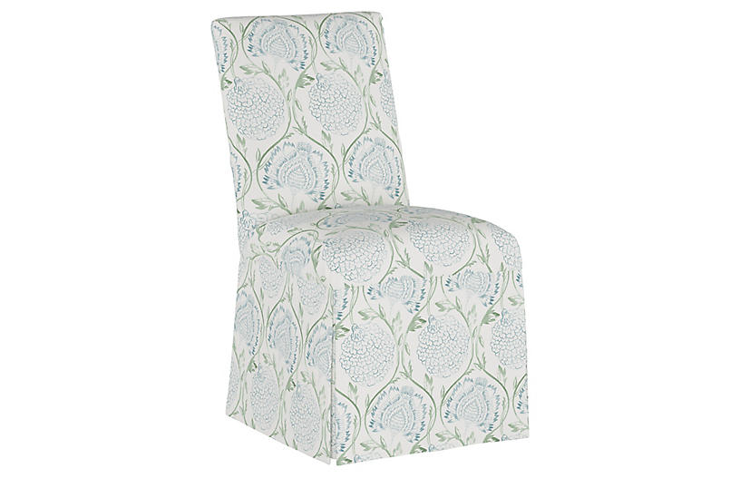 Owen Slipcover Side Chair, Floral Sage
