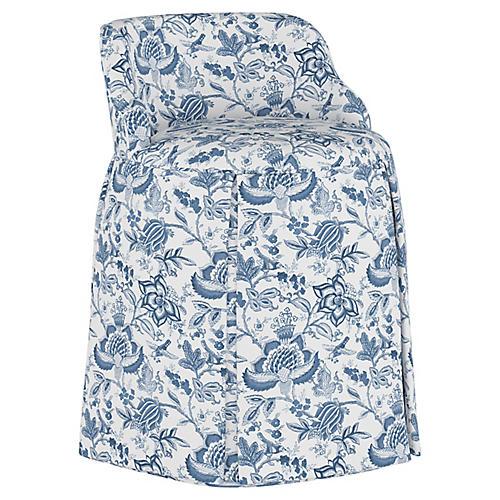 Addie Vanity Stool, Prairie Floral Blue