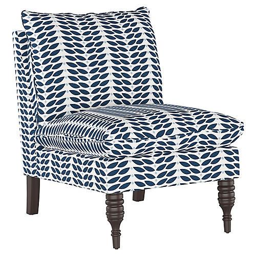 Daphne Slipper Chair, Petal Navy