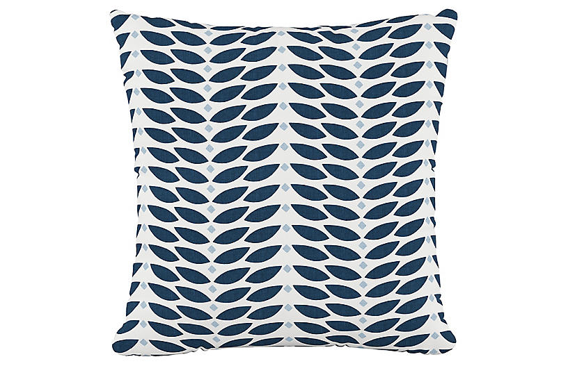 Petal Cotton Pillow, Navy