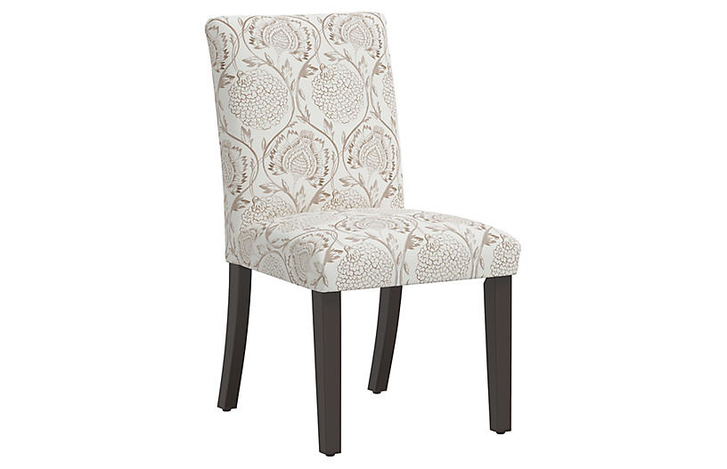 Shannon Side Chair, Ranjit Floral Brown