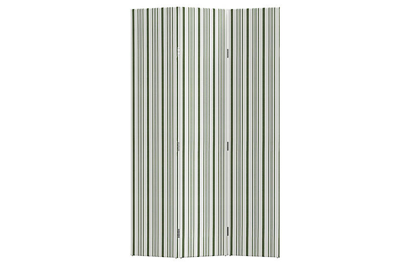Melina Room Screen, Finn Stripe Moss