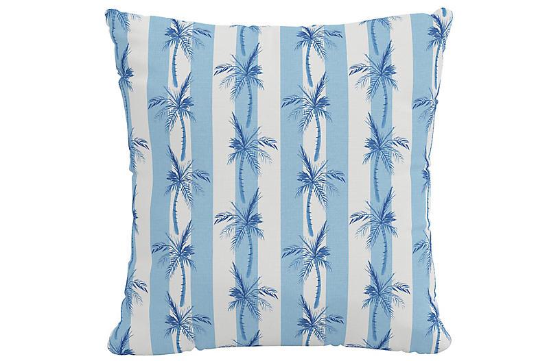 Cabana Stripe Palms Pillow, Blue Linen