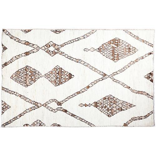 """4'x5'9"""" Jaden Moroccan Rug, Ivory"""