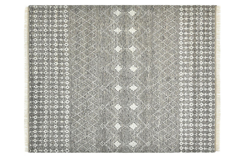 Val Bohemian Moroccan Hand-Knotted Rug, Gray