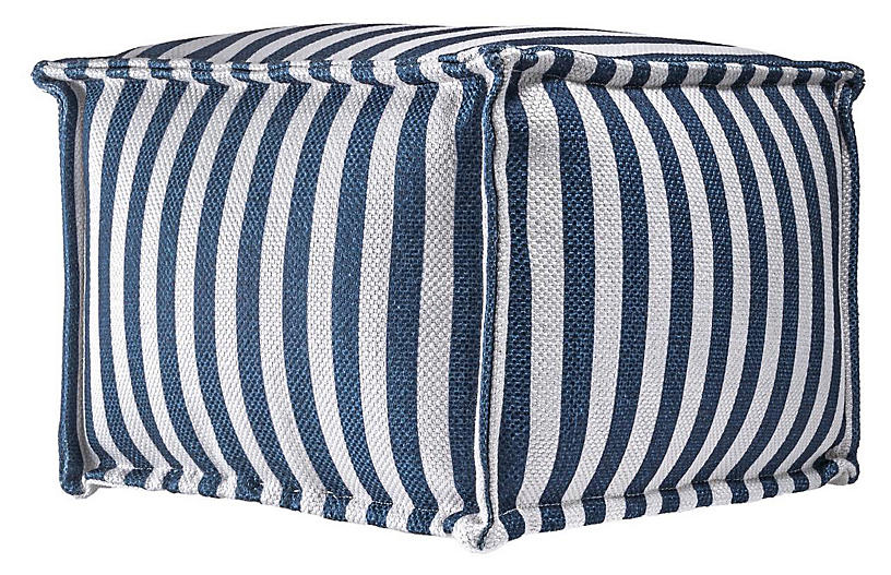 Striped Pouf, Blue