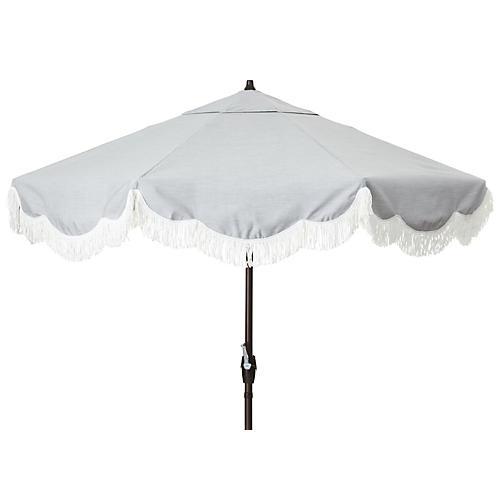 Cloud Fringe Patio Umbrella, Granite