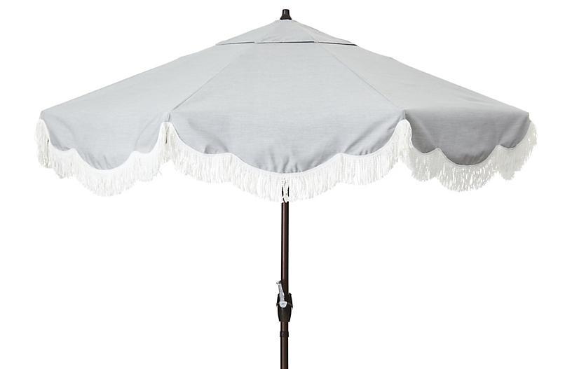 Cloud Fringe Patio Umbrella, Granite Sunbrella