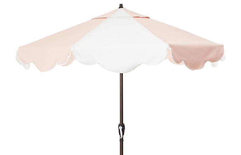 Cloud Patio Umbrella, Blush Pink/White