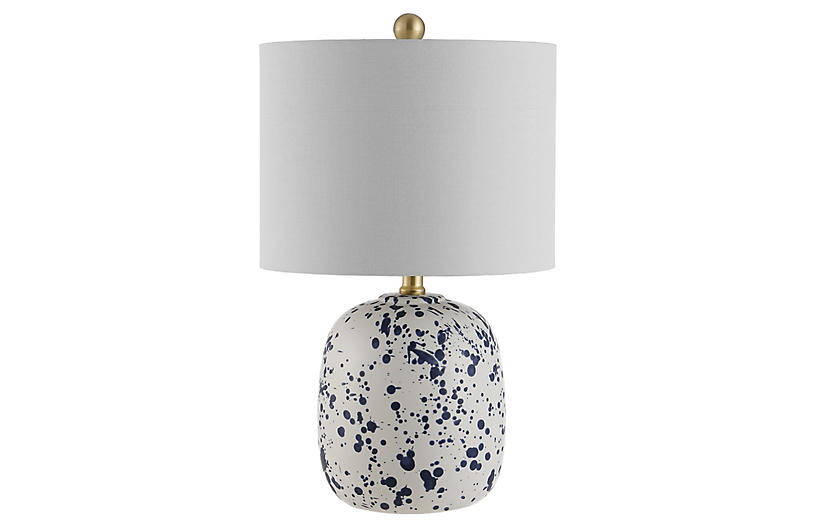 Jackson Splatter Table Lamp, Ivory/Blue