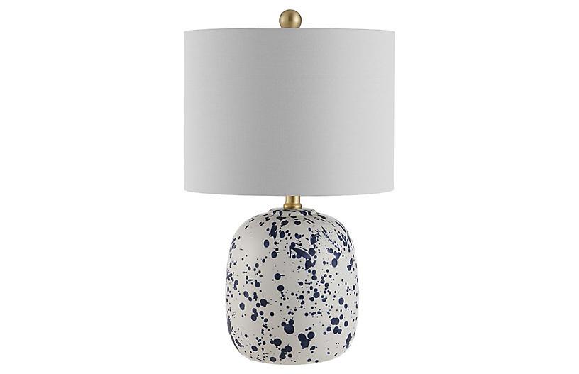 Jackson Splatter Table Lamp, Ivory/Blue