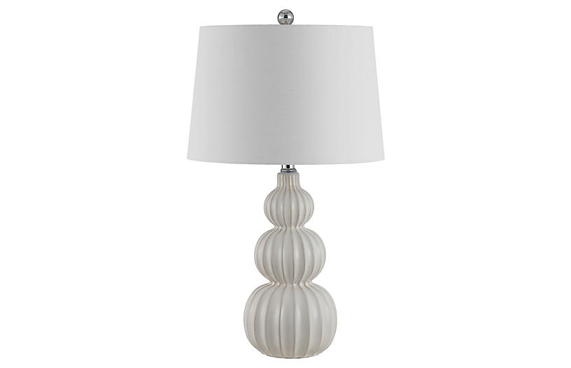 Maya Triple Gourd Table Lamp, White