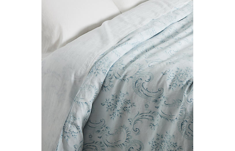 Dusty Duvet Cover, Blue/White