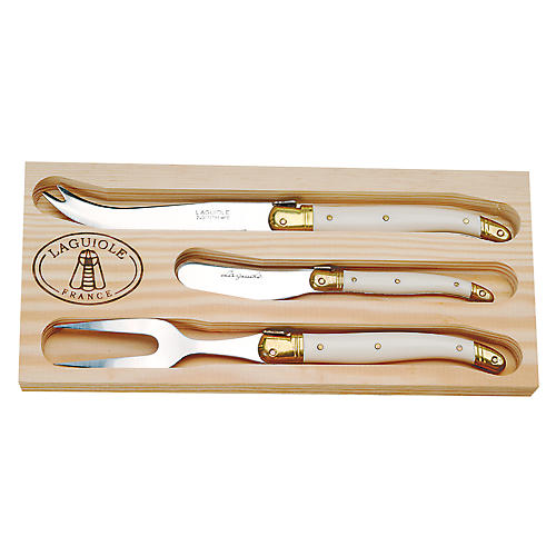 3-Pc Unic Cheese Set, Ivory/Gold