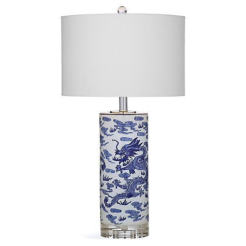 Dancing Dragon Table Lamp, Blue/White