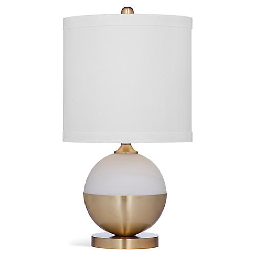 Norwich Table Lamp, White/Brass