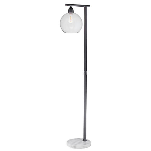 Mott Marble Floor Lamp, Gray/White