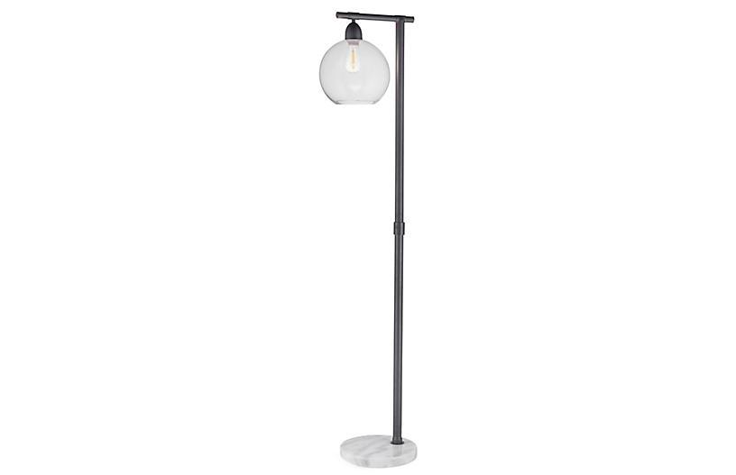 Mott Marble Floor Lamp, Gray/White