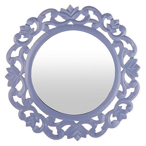 Carved Wall Mirror, Lavender