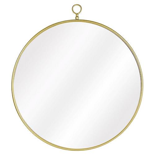 Beatrix Round Wall Mirror, Brass
