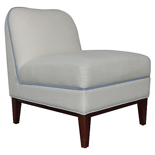Eleanor Slipper Chair, Ivory/Light Blue