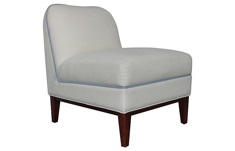 Eleanor Slipper Chair, Ivory/Light Blue