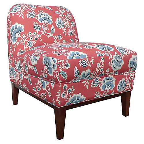Eleanor Slipper Chair, Vermilion Flora