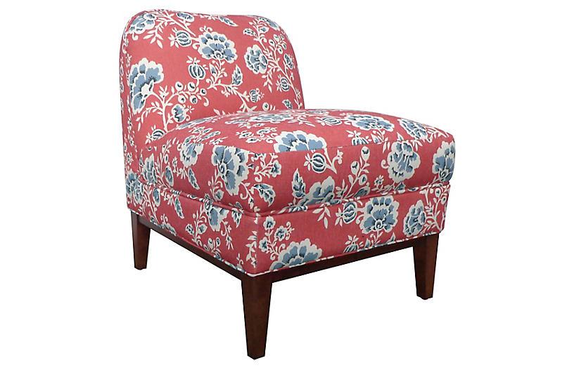 Eleanor Slipper Chair, Vermilion Flora