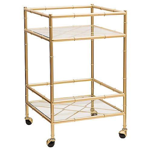 Huntley Bar Cart, Aged Gold