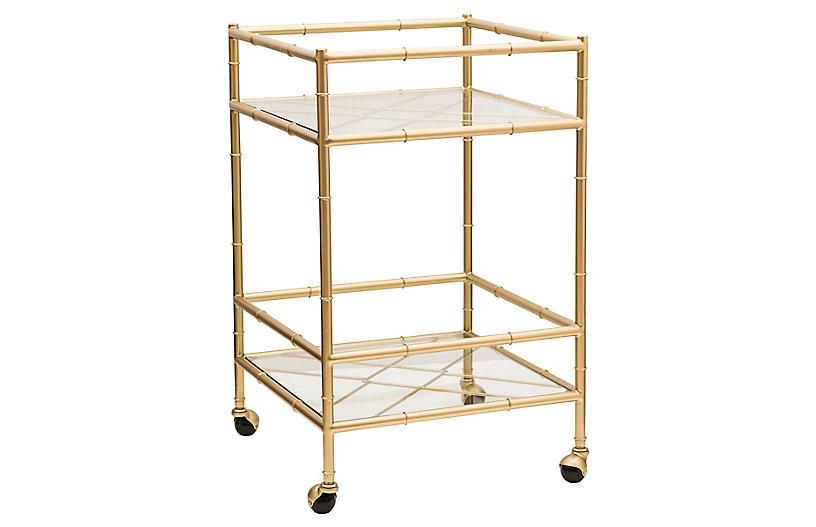 Huntley Bar Cart, Aged Gold