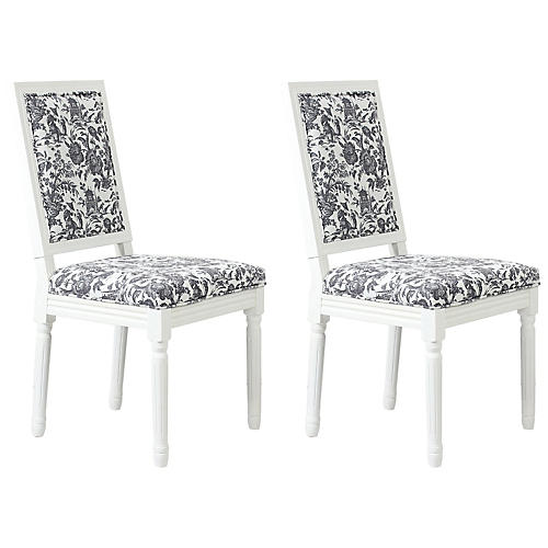 S/2 Calais Side Chairs, Onyx Toile