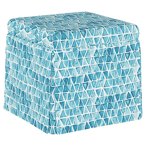 Avery Ottoman, Washed Triangles Blue