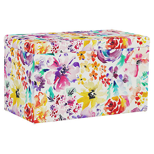 Sebastian Storage Bench, Washed Floral Multi
