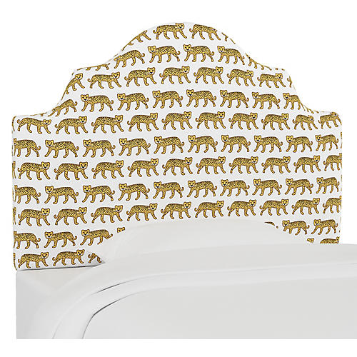 Harper Scalloped Headboard, Cheetah White