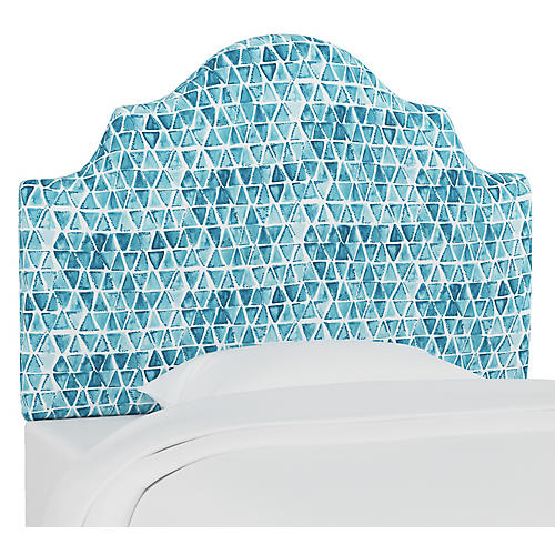 Harper Scalloped Headboard, Washed Triangles Blue