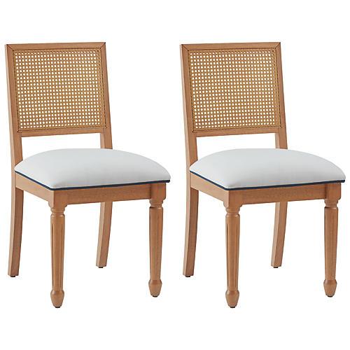 S/2 Jasmine Cane Side Chairs, Ivory