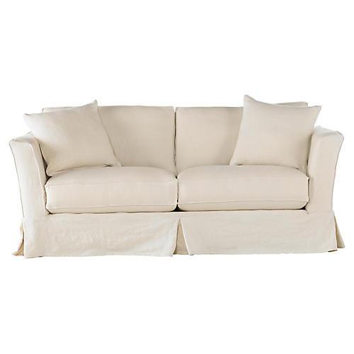 Loft Slipcovered Sofa, Cream Linen