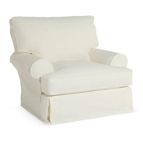 Comfy Slipcovered Club Chair, White Denim