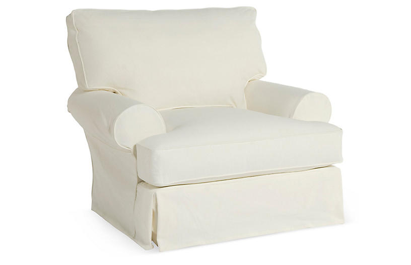 Comfy Slipcovered Club Chair, White Denim