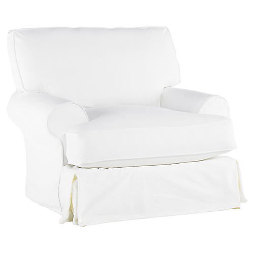 Comfy Swivel Club Chair, White
