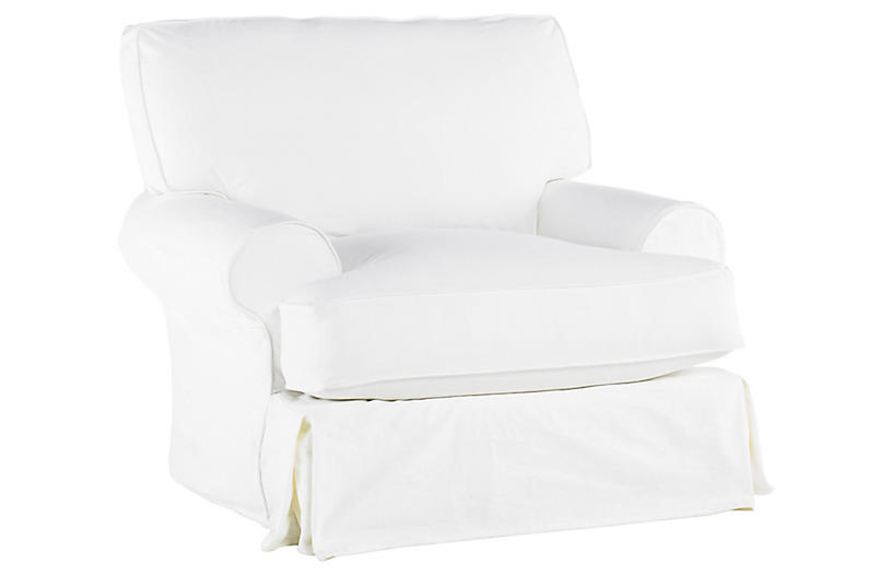 Comfy Swivel Club Chair, White