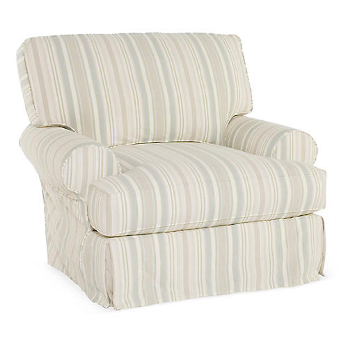 Comfy Swivel Club Chair, Natural Stripe