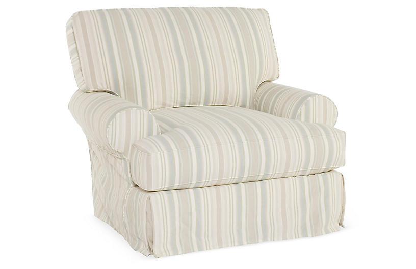 Comfy Swivel Club Chair, Natural Stripe