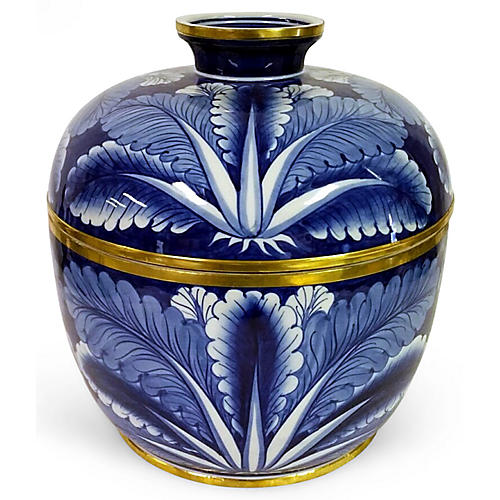 """10"""" Cabbage Bowl, Blue"""