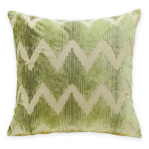 Mary 22x22 Pillow, Green Velvet